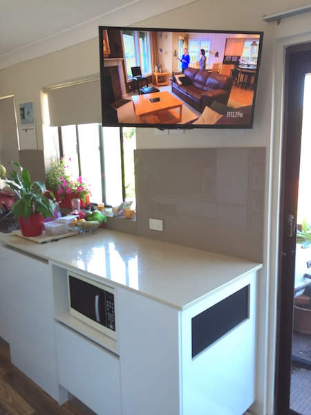 Kitchen tv wall mount installation freshwater northern for Small wall mounted tv for kitchen
